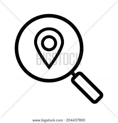 Location search linear icon. Thick line illustration. Magnifying glass with map pinpoint. Contour symbol. Vector isolated outline drawing
