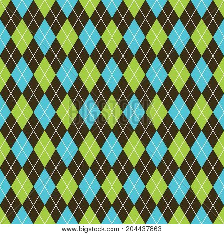 Seamless argyle pattern background. Grey and white pattern. Black, blue and lime green pattern.