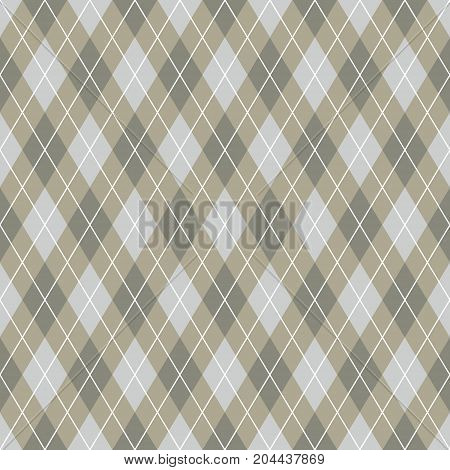 Seamless argyle pattern background. Brown and white pattern.