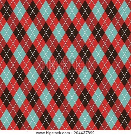Seamless argyle pattern background. Red, black and turquoise pattern,