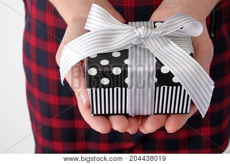 Woman Hands Holds Present Box