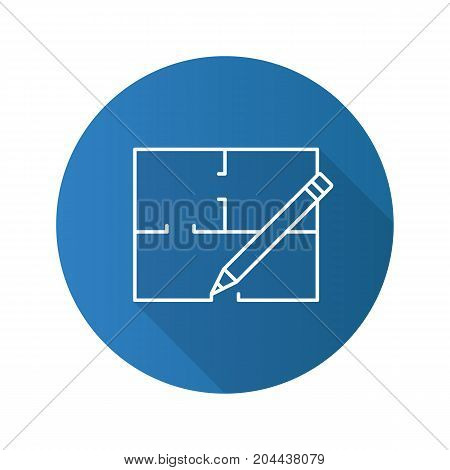 Floor plan flat linear long shadow icon. Flat blueprint. Vector outline symbol