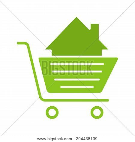 Shopping cart with house glyph color icon. Property purchase. Silhouette symbol on white background. Negative space. Vector illustration