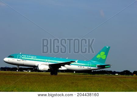 Amsterdam the Netherlands - June 2nd 2017: EI-EDP Aer Lingus Airbus A320-214 taking off from Polderbaan Runway Amsterdam Airport Schiphol