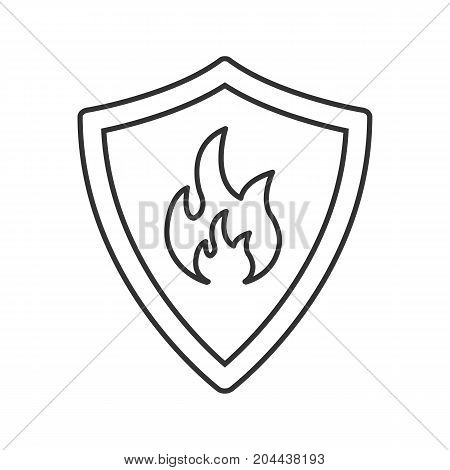 Firefighters badge linear icon. Thin line illustration. Protection shield with fire. Contour symbol. Vector isolated outline drawing