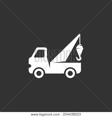 Evacuator car isolated on black background. Evacuator vector logo. Flat design style. Modern vector pictogram for web graphics - stock vector
