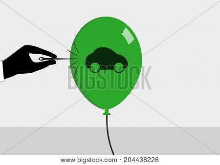 Concept of declining car sales and automotive crisis. Vector illustration in flat design of needle bursting the bubble.