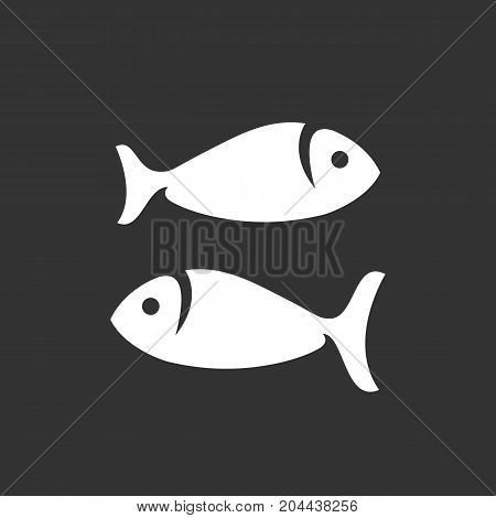 Fish icon isolated on black background. Fish vector logo. Flat design style. Modern vector pictogram for web graphics - stock vector