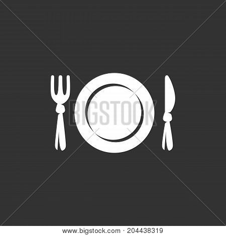 Fork and knife menu icon isolated on black background. Restaurant vector logo. Flat design style. Modern vector pictogram for web graphics - stock vector