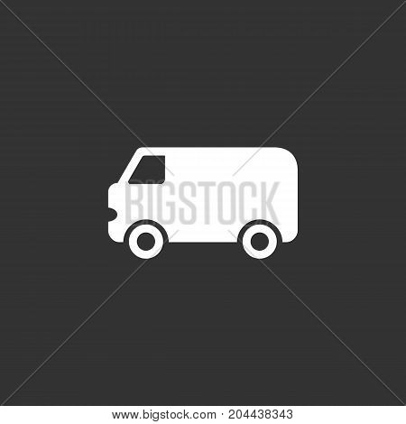 Van icon isolated on black background. Van vector logo. Flat design style. Modern vector pictogram for web graphics - stock vector