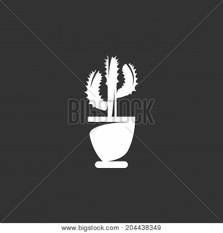 Cactus in a pot icon isolated on black background. Cactus vector logo. Flat design style. Modern vector pictogram for web graphics - stock vector