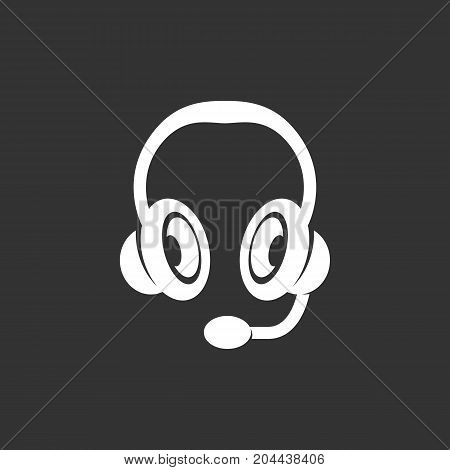 Headset icon isolated on black background. Headset vector logo. Flat design style. Modern vector pictogram for web graphics - stock vector