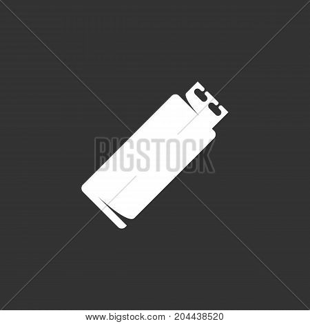 USB flash drive icon isolated on black background. USB flash drive vector logo. Flat design style. Modern vector pictogram for web graphics - stock vector