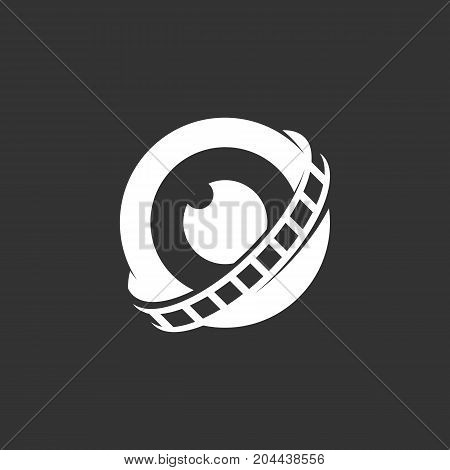 Lens with film logo isolated on black background. Lens with film vector icon. Flat design style. Modern vector pictogram for web graphics - stock vector