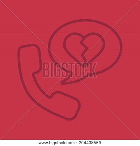 Breakup by phone linear icon. Handset with heartbreak inside chat bubble. Thin line outline symbols on color background. Vector illustration