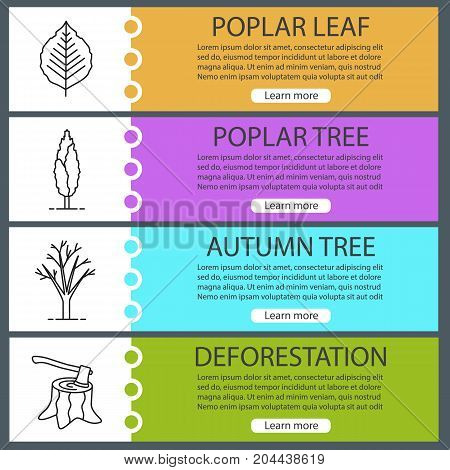 Forestry web banner templates set. Poplar tree and leaf, deforestation, tree without leaves. Website color menu items with linear icons. Vector headers design concepts