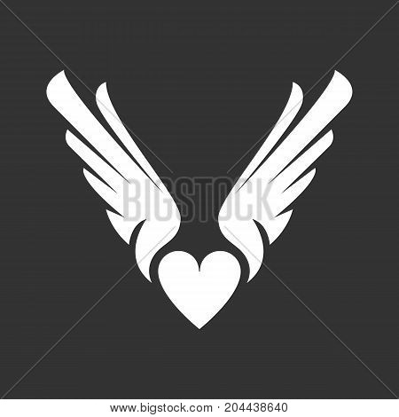 Heart with wings icon isolated on black background. Heart with wings vector logo. Flat design style. Modern vector pictogram for web graphics - stock vector