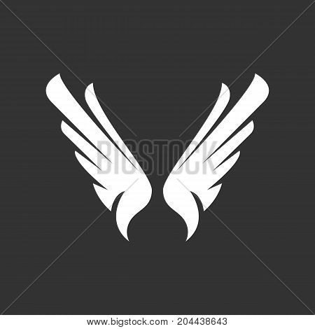 Wings icon isolated on black background. Wings vector logo. Flat design style. Modern vector pictogram for web graphics - stock vector