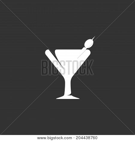 Martini icon isolated on black background. Martini vector logo. Flat design style. Modern vector pictogram for web graphics - stock vector