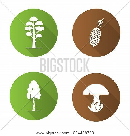 Forestry flat design long shadow glyph icons set. Pine cone and tree, birch, mushroom. Vector silhouette illustration