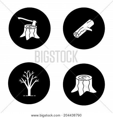 Forestry glyph icons set. Stumps with axe inside, tree without leaves, firewood. Vector white silhouettes illustrations in black circles