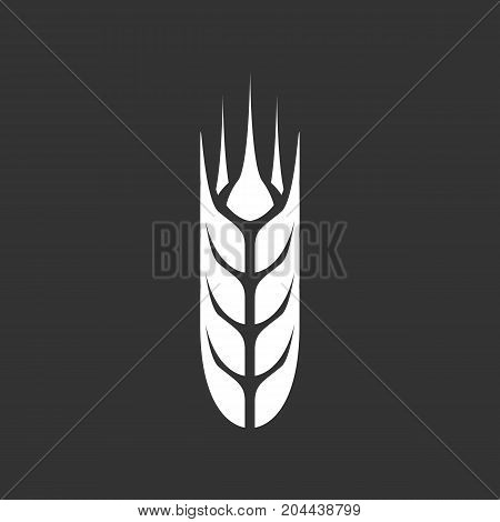 Wheat icon isolated on black background. Wheat vector logo. Flat design style. Modern vector pictogram for web graphics - stock vector