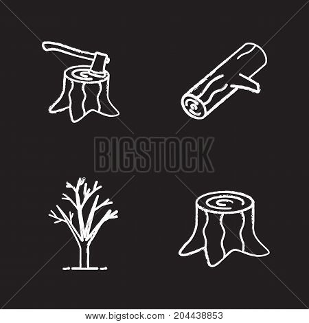 Forestry chalk icons set. Stumps with axe inside, tree without leaves, firewood. Isolated vector chalkboard illustrations