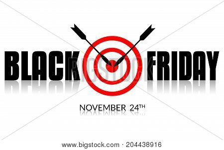 BLACK FRIDAY WITH TARGET AND AS AN ILLUSTRATION ON WHITE BACKGROUND.