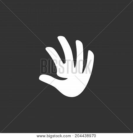 Hand icon isolated on black background. Hand vector logo. Flat design style. Modern vector pictogram for web graphics - stock vector