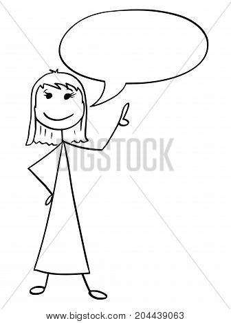 Cartoon Illustration Of Female Woman With Empty Speech Bubble