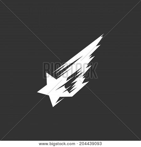Shooting star icon isolated on black background. Shooting star vector logo. Flat design style. Modern vector pictogram for web graphics - stock vector