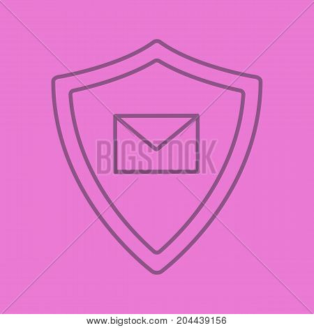 Email security linear icon. Sms message inside protection shield. Spam protection. Thin line outline symbols on color background. Vector illustration