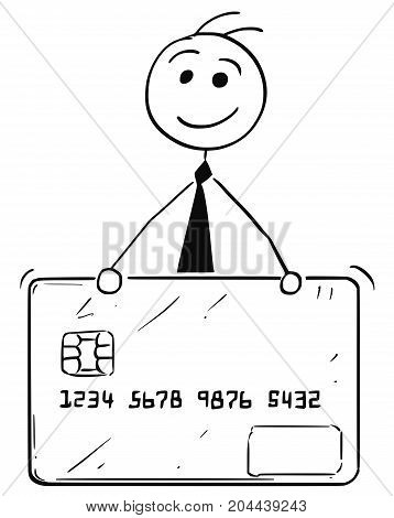 Cartoon Illustration Of Business Man With Credit Debit Card