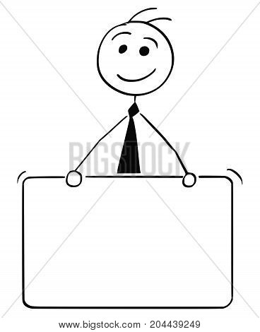 Cartoon Illustration Of Business Man Holding Empty Sign