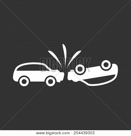 Car crash icon isolated on black background. Car crash vector logo. Flat design style. Modern vector pictogram for web graphics - stock vector