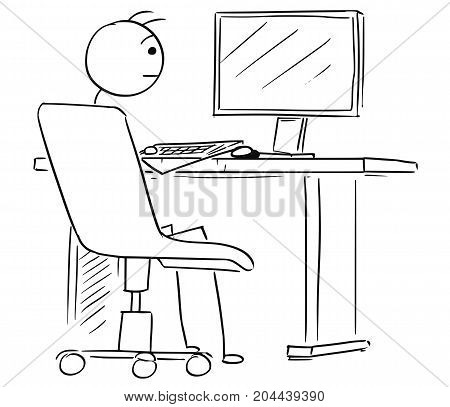 Cartoon Illustration Of Business Man Working On Computer