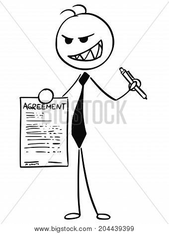 Cartoon Illustration Of Businessman Salesman Offering Agreement To Sign
