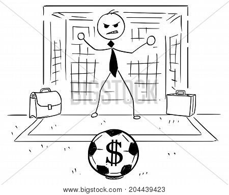 Cartoon Illustration Of Businessman As Soccer Football Goal Keeper Catching Dollar Ball