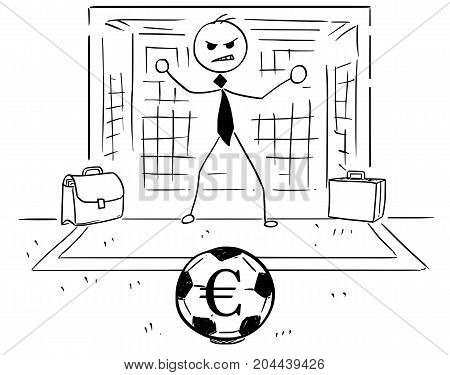 Cartoon Illustration Of Businessman As Soccer Football Goal Keeper Catching Euro Ball