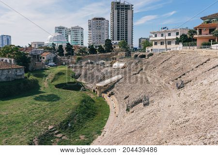 Durres Amphitheater. Durres is the second largest city of Albania. The city founded in the 7th century BC by Greek colonists from Corinth and Corcyra under the name Epidamnos