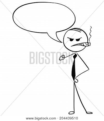 Cartoon Illustration Of Angry Business Man With Cigar Pointing