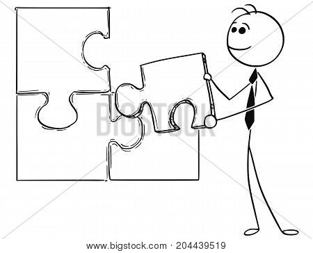 Cartoon Illustration Of Business Man Holding Jigsaw Puzzle Piece