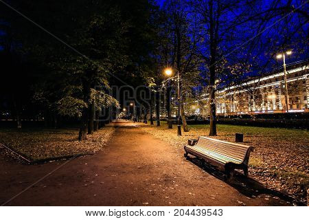 City park at twilight with bench, pathway, alley and trees autumn. Autumn park. Night park. Autumn alley.