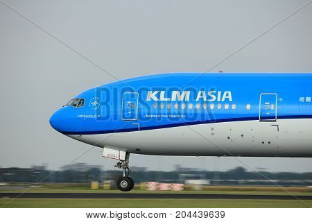 Amsterdam the Netherlands - July 6th 2017: PH-BVC KLM Royal Dutch Airlines Boeing 777-300 takeoff from Polderbaan runway Amsterdam Schiphol Airport