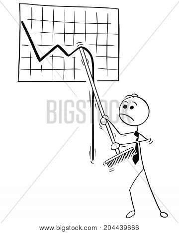 Cartoon Illustration Of Business Man With Broom Trying To Raise Wall Graph Chart