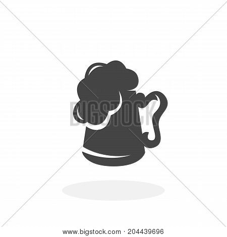 Mug with beer icon isolated on white background. Mug with beer vector logo. Flat design style. Modern vector pictogram for web graphics - stock vector