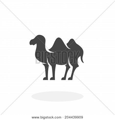 Bactrian camel icon isolated on white background. Bactrian camel vector logo. Flat design style. Modern vector pictogram for web graphics - stock vector