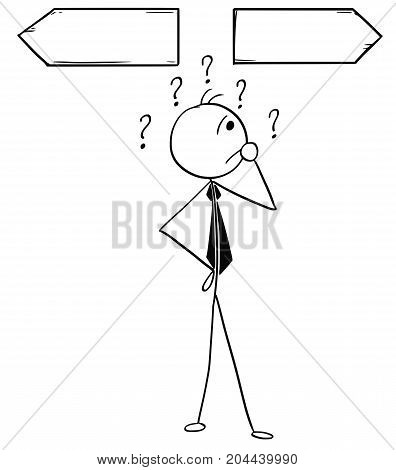 Cartoon Illustration Of Business Man On The Crossroad