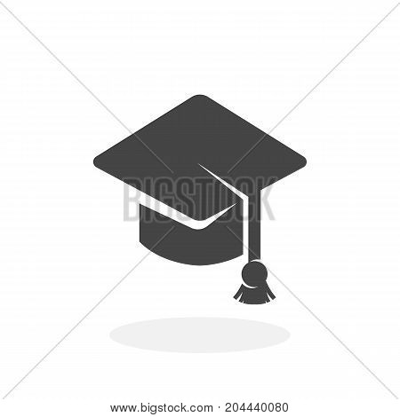 Education icon isolated on white background. Education vector logo. Flat design style. Graduation cap vector pictogram for web graphics - stock vector