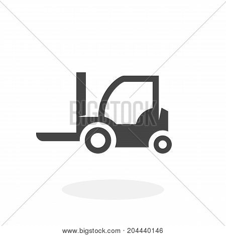 Wheel loader icon isolated on white background. Forklift loader vector logo. Flat design style. Modern vector pictogram for web graphics - stock vector